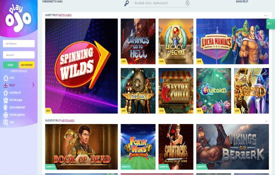 PlayOJO Games page