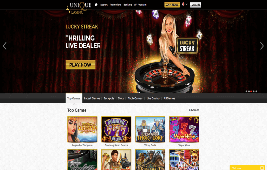 Unique Casino Homepage
