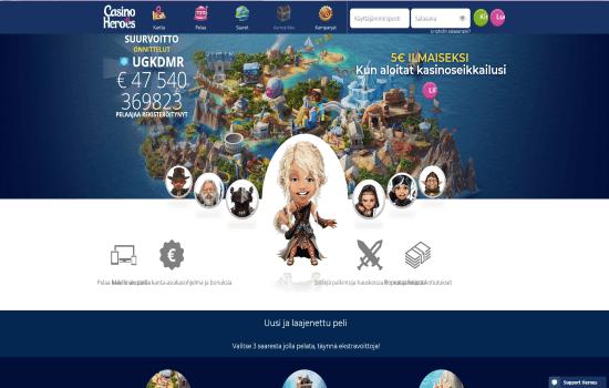 Casino Heroes Homepage