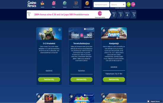 Casino Heroes promo page
